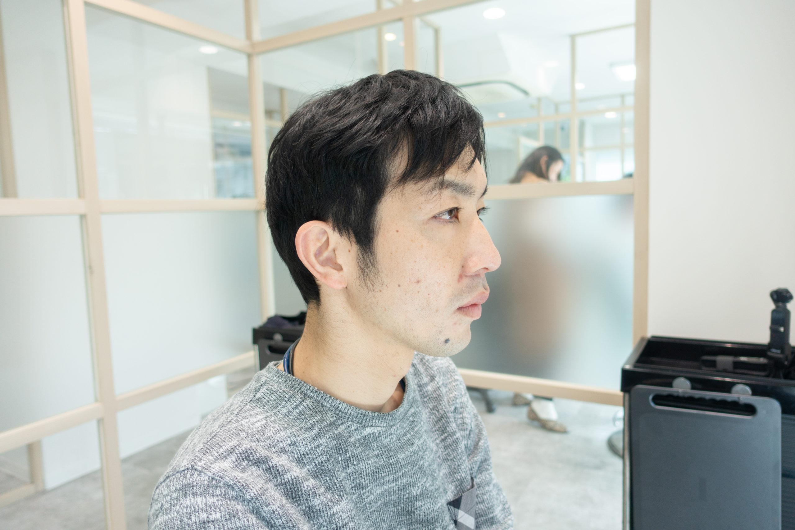 男性のヘアスタイルビフォー